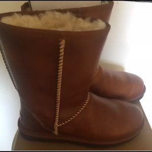 Chestnut Leather Waterproof UGG Boots Size 7 NIB