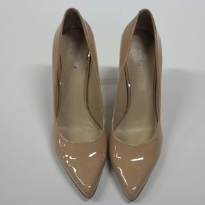 Nine West Nude Pointed Patent Leather Heels