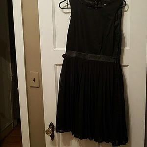 Black Backless Pleated dress w Black Faux Leather