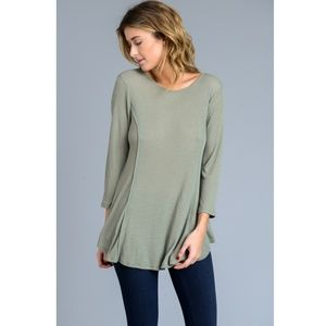 Tops - CLEARANCE Long Sleeve Olive Scoop Neck Tunic Top