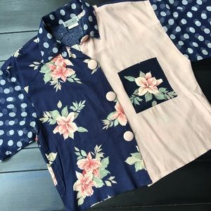 Vintage print button up cropped top