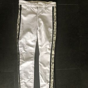 White joes jeans 24 snake print accent on sides