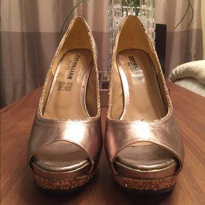 Goldfish bronze platform peep toes