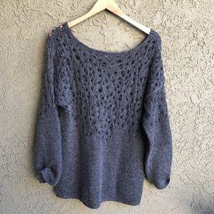 Eileen Fisher Open Knit Wool Long Sleeve Sweater