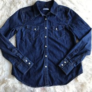 Gap Chambray Pearl Button Up Top