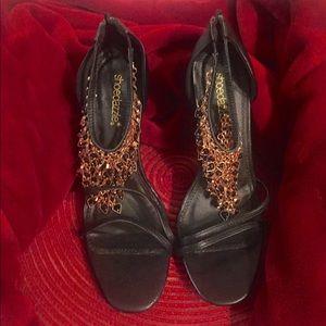 Show Dazzle Black&Gold Jeweled stilettos sz 9 $20