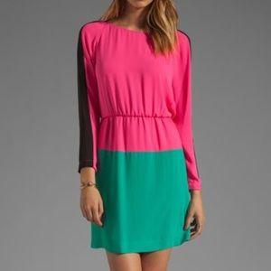 BCBG long sleeve color block dress