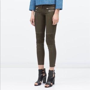 Zara Army Green Wax Jeans