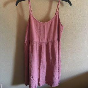 Pink tank top dress.
