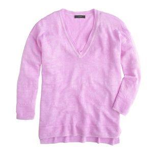 J.Crew Linen V-neck Sweater in Garment Dye