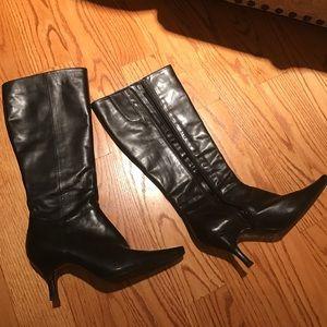 Vintage Bandolino Heel Black Leather Boots 6M