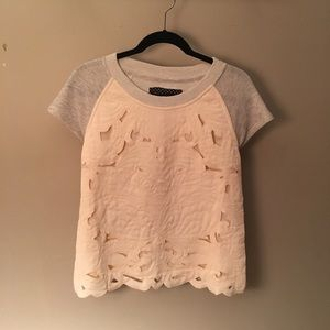Anthropologie Lace Tshirt Size S