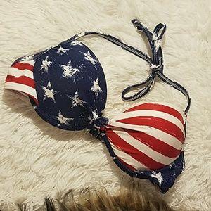 USA America flag push up bikini swim top S