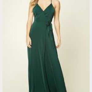Forever 21 Green Surplice Front Wrap Dress