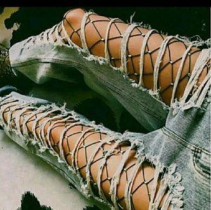 Black Rhinestone Fishnets