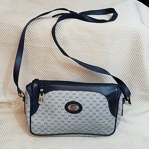 Vintage GUCCI Navy Coated Canvas Crossbody Bag