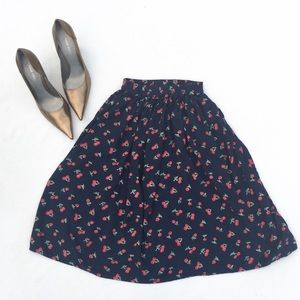 Retro Navy Cherry Print Flirty Skirt