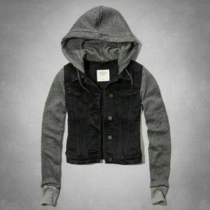 Black denim with grey sleeve jacket