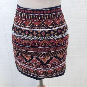 H&M Beaded Embroidered Mini Skirt