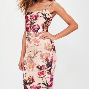 Missguided Pink Floral Bodycon Midi Dress