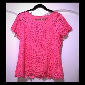 J. Crew hot pink lace blouse