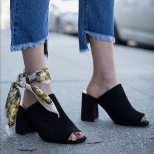 Topshop flared heel peep toe mule black sandals.