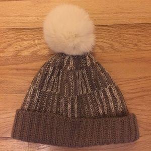 Wyatt Collection Hat/ Beanie with Rabbit Fur puff