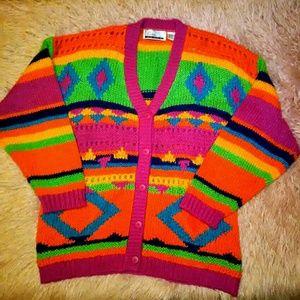 Diana Marco Rainbow Crochet 90s vintage Sweater