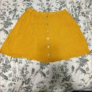 •Mustard Yellow Button Up Skirt•