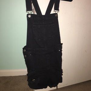 Black distressed Overalls