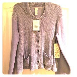 J.Jill periwinkle Sherpa knit cardigan sz Medium