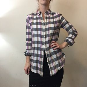 Isabella Sinclair White Pink Plaid Crochet Blouse