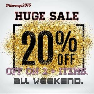 From now till Monday enjoy 20% off on 2+ items.