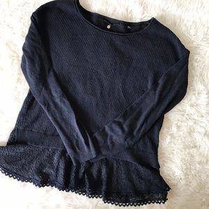 Anthropologie Knitted & Knotted Lace Bottom Top