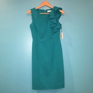Calvin Klein Teal Dress with Ruffled Shoulder