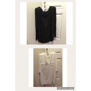 Two Button half Down Shirts. Ivory and Black