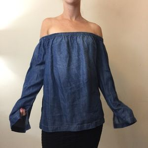 Cloth & Stone Denim Chambray Off The Shoulder Top