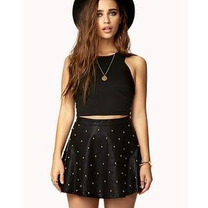 Forever21 black leather studded mini skirt