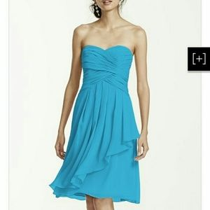 David's bridal Malibu blue dress strapless size 10