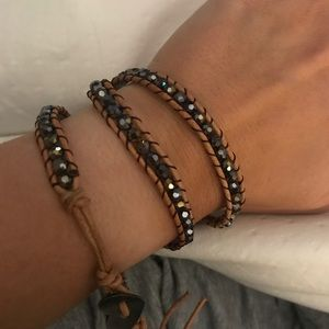 Rope and sparkle multi wrap bracelet