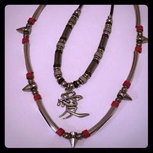 Set of 2 Vintage 90s Necklaces Kanji Spikes