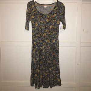 LuLaRoe Nicole Dress - Feather Pattern - Size M