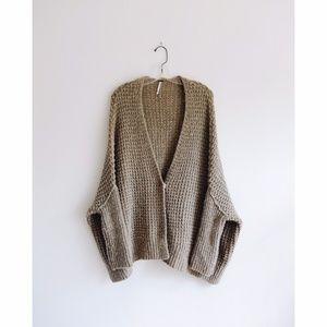 Free People Taupe Knit Oversized Cardigan sz M