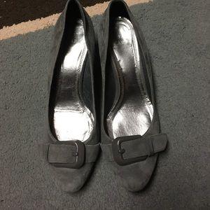 Zara grey suede wedge heel