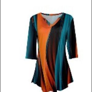 Orange/Black/Blue swirl print tunic XL