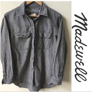 Madewell Gray Chambray Button Down