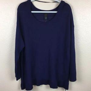 Lane Bryant Sweater Zipper Sides Sheer Back