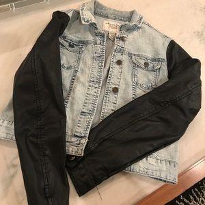 Funky half denim, half leather jacket