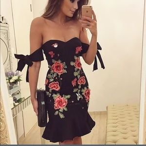 Black off the shoulder floral embroidered dress