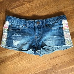 Distressed Jean Shorts w/ patterned sides